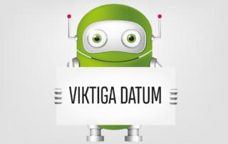 """Robot som håller en skylt med rubrik """"Viktiga datum"""""""